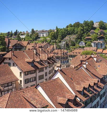 View on the historic part of the city of Bern in summer. The city of Bern is the capital of Switzerland and the fourth most populous city in the country.