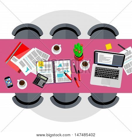 Business template. Top view of conference room, vector illustration. Office desk and six chairs around. Laptop, smartphone, coffee cups, financial documents and other objects on table.