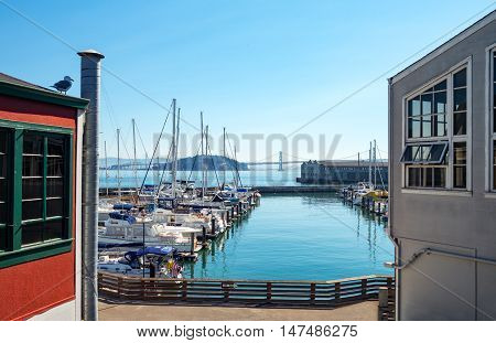 San Francisco USA - September 21 2015: Overlooking on a marina and the bay from the Pier 39