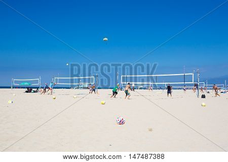 Los Angeles, USA - 9th August 2015: Volleyball courts on Santa Monica Beach on a warm sunny summer's day