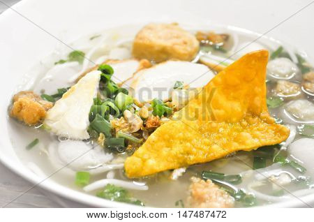 Chinese noodle or  noodle with fish ball