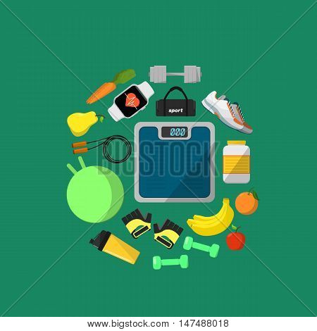 Fitness and healthy lifestyle banner, vector illustration in flat style. Different athletic equipments and nutrition supplements around blue weigher on green background. Workout concept