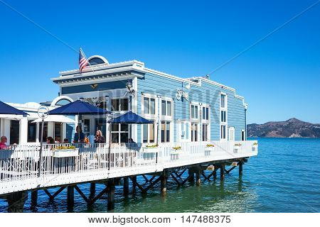 Sausalito USA - September 23 2015: A restaurant on stilts in the waterfront of the country