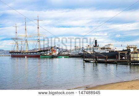 San Francisco USA - September 24 2015: Vintage boats in the Maritime Nacional Historical Park