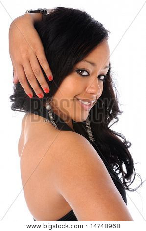 Beautiful African American woman smiling isolated over a white background