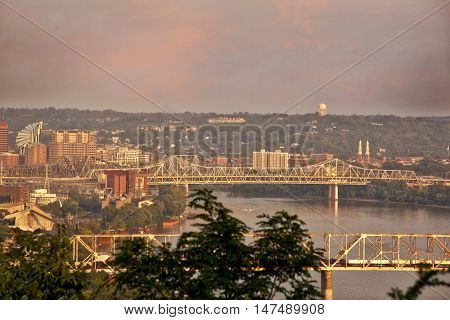 Looking east toward Cincinnati, Ohio and Covington, Kentucky provides a great view of the Ohio River and the Brent Spence bridge.