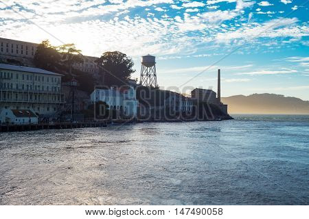San Francisco California backlight sunset view of the Alcatraz island
