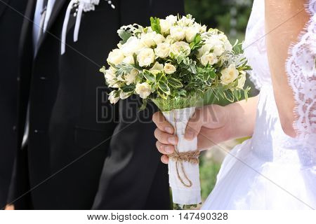 Fiancee and fiance at wedding ceremony, closeup