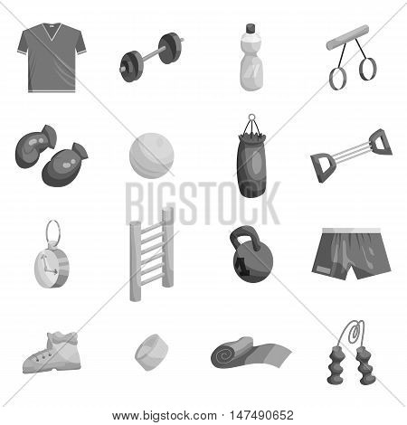 Fitness icons set in black monochrome style. Sport equipment set collection vector illustration