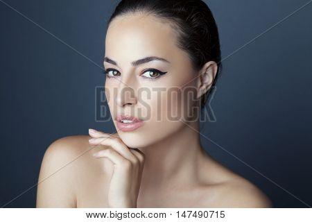 natural look woman beauty portrait, studio closeup