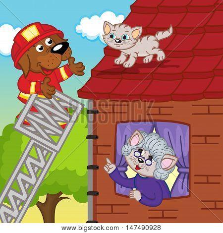 dog rescuer removes kitten off roof - vector illustration, eps