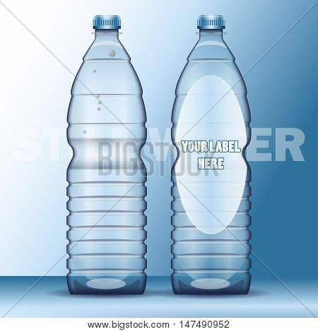 Vector set of transparent plastic blue liquid bottle with caps for mineral water mockup ready for your design
