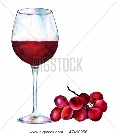 A vibrant watercolor drawing of a glass of red wine with a bunch of grapes, hand painted from side view on white background. A decoration for a restaurant menu or a tasting invitation