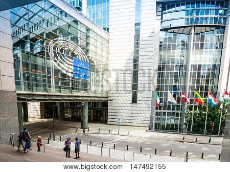 BRUSSELS, BELGIUM - June 16, 2016 : Exterior of the building of the European Parliament in Brussels, Belgium. it exercises the legislative function of the EU.June 16, 2016, BRUSSELS, BELGIUM