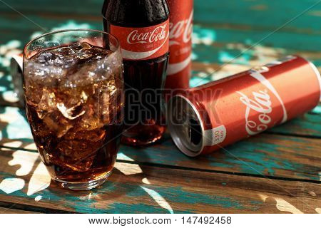 MINSK, BELARUS-AUGUST 26, 2016. Coca-Cola is a carbonated soft drink popular all over the world. She is sold in restaurants stores everywhere.