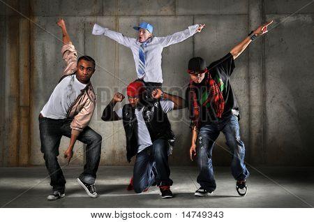 Hip hop men dancing over