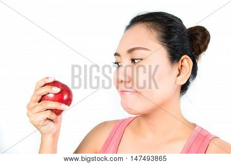 asian woman with red apple on white background