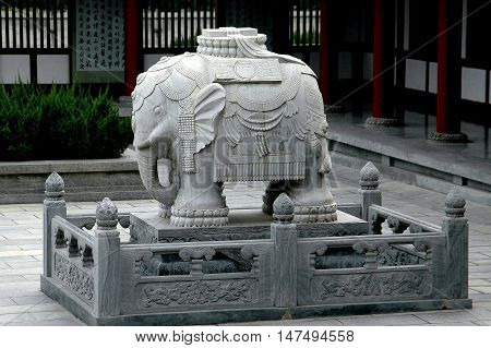 Xi'an China - September 7 2006: Carved stone elephant in a courtyard of the Greater Wild Goose (Dayan Tai) Pagoda at the Da Chen Temple
