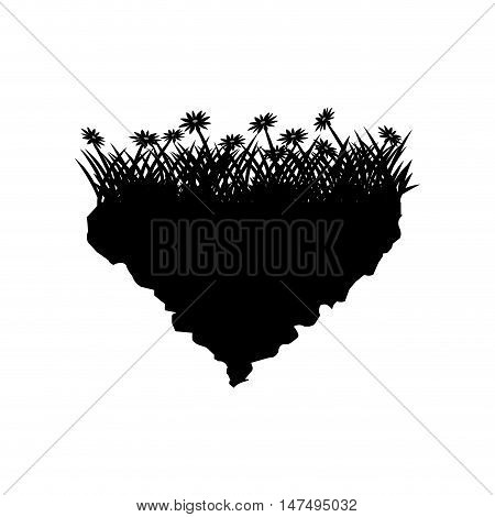 Grass with flowers icon. Silhouette design. lawn plant nature and field theme. Vector illustration