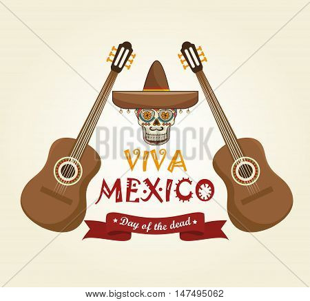 icons music skull mexico design vector illustration eps 10