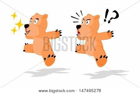 Jumping Bear in 2 emotion panic and happy on transparent background
