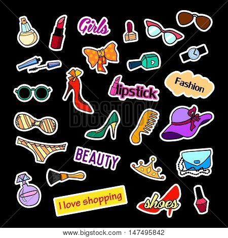 Fashion patch badges. Fashion set. Stickers, pins, patches and handwritten notes collection in cartoon 80s-90s comic style. Trend. Vector illustration isolated. Vector clip art.