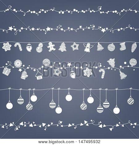 Garlands seamless horizontal borders set. Party new year christmas decorations. Cookies and christmas balls. Gingerbread man star santa snowflake tree and other holiday symbols. Vector illustration.