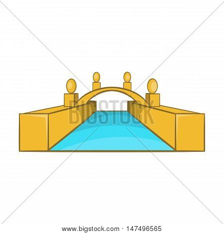 Rialto Bridge Canals of Venice icon in cartoon style isolated on white background vector illustration