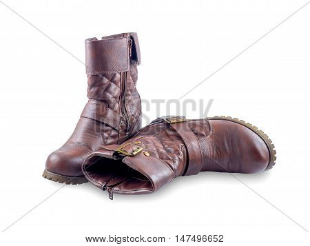 A pair of brown boots isolated on a white background. with clipping path.