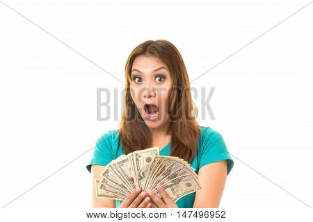 asian woman was glad to get the money