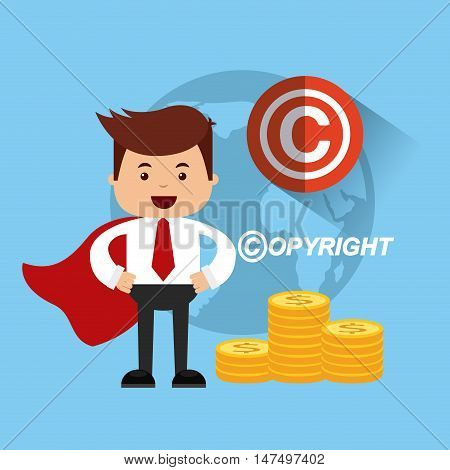businessman avatar with copyright concept vector illustration, eps10