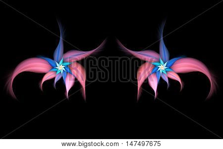 Abstract exotic flowers on black background. Symmetrical pattern in pastel pink blue and orange colors. Fantasy fractal design for posters wallpapers or t-shirts. Digital art. 3D rendering.