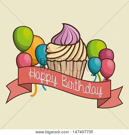cake sweet happy birthday desing isolated vector illustration eps 10