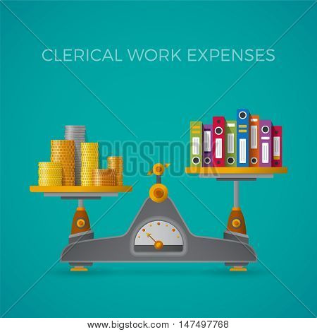 Clerical Work Expenses Concept In Flat Style