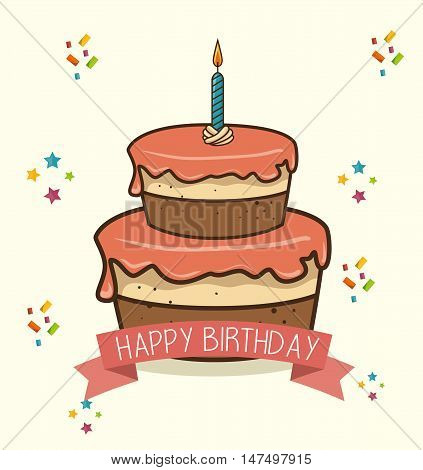 cake candle sweet happy birthday desing isolated vector illustration eps 10