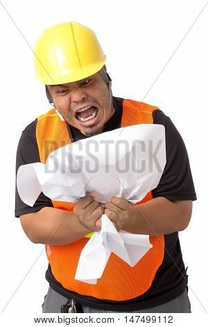 foreman opting for the job on white background