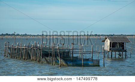 Traditional fishermen wooden houses in Songkhla Lake, Thailand