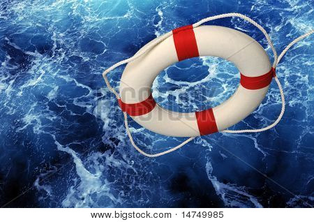 Life ring falling on blue churning water