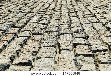 low angle view to new cobblestone road