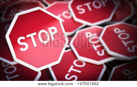 3D illustration of many stop sign with blur effect Concept of protest or opposition.