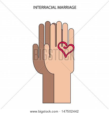 two hands in flat style. Interracial marriage symbol