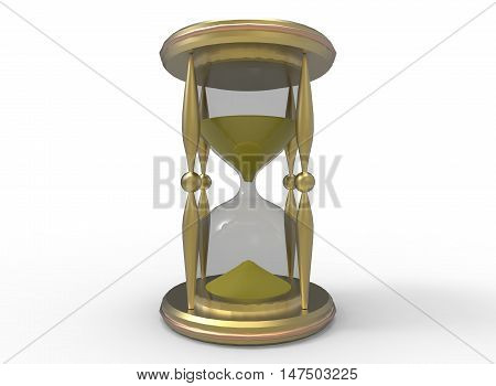 3d illustration of golden sand clock. white background isolated. icon for game web.