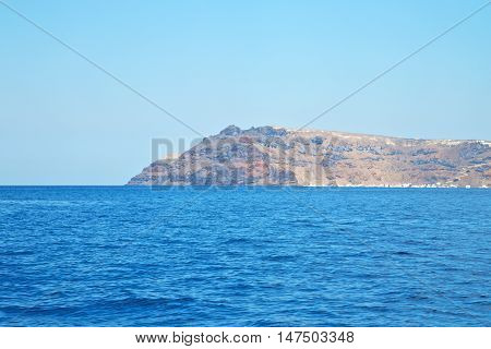 From The Boat Sea And Sky In Mediterranean Sea Santorini Greece Europe