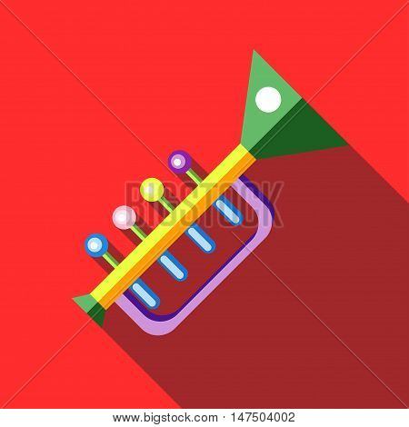 Children's toy musical trumpet on red background. Picture style flat
