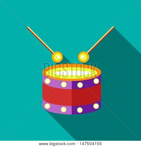 Children's toy drum on blue-green background. Picture style flat