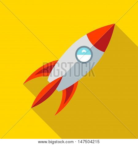 Children's toy rocket on a yellow background. Picture style flat