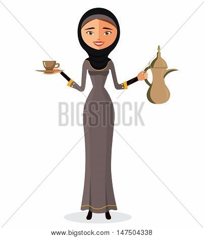 Smile illustration of a beautiful arab woman holding an Arabic coffee pot and with a cup isolate on white background.