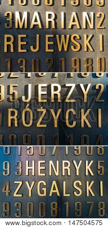Poznan POLAND - September 06 2016: Monument of Polish cryptologists (Enigma Codebrakers) breaking the Enigma cipher during World War II