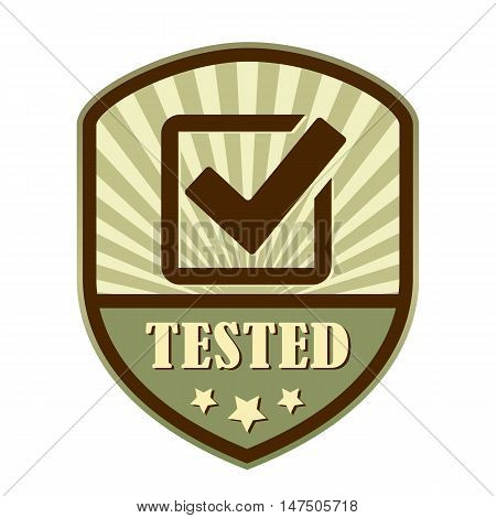 Tested and approved tick retro label vector illustration isolated on white background