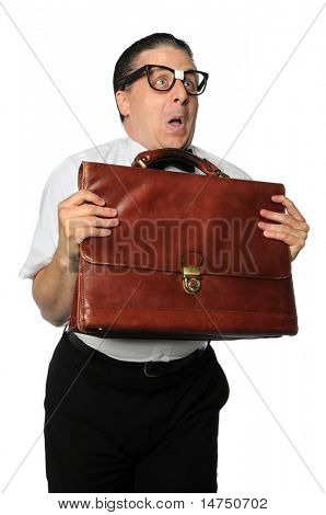 Nerd holding briefcase expressing emotions isolated over white background